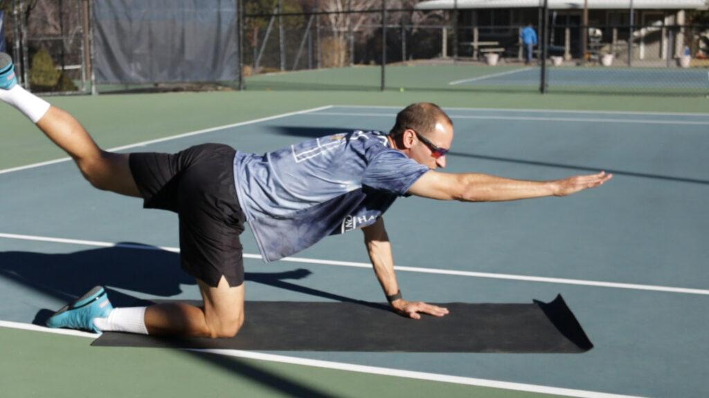 Core exercises for tennis bird dog