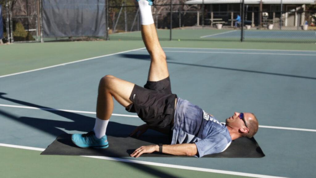 Tennis core exercise glute bridge